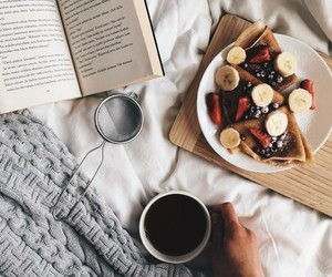 book, coffee, and delicious image
