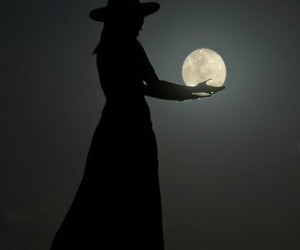 moon, witch, and night image
