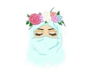 hijab, flowers, and blue image