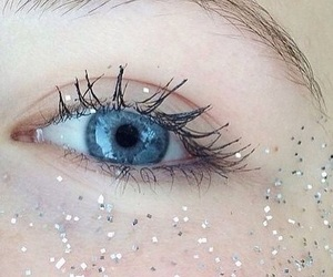 blue, eye, and glitter image