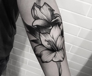 flower, ink, and inked image