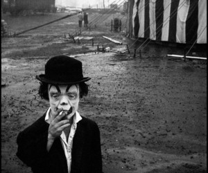 clown, circus, and black and white image