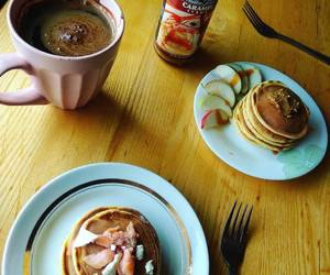 coffee, morning, and pancakes image