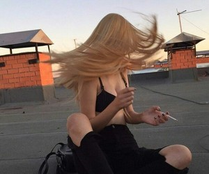 girl, hair, and cigarette image