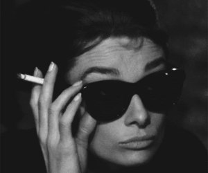 audrey hepburn, cigarette, and black and white image