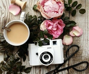 coffee, flowers, and photography image