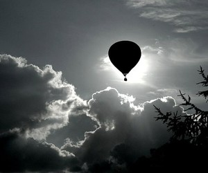 air balloon, black and white, and grey image