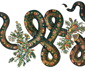snake, flowers, and art image