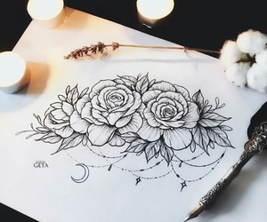 art, candle, and flowers image