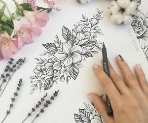 art, linework, and flowers image