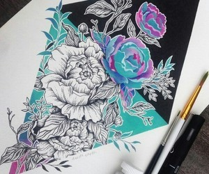 flower, rose, and sketch image