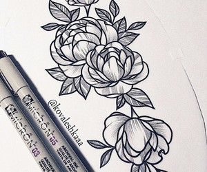 flower, tattooart, and ink image