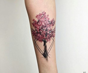 flower, ink, and pink image