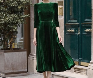 dress, emerald, and haute couture image