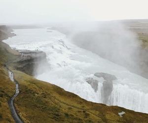 iceland, waterfall, and gullfoss image