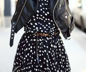 dress, leather jacket, and street chic image