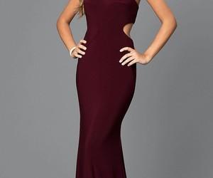 burgundy, pretty, and prom dress image