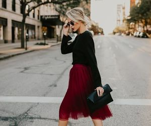 fashion, outfit, and midi skirt image