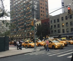 cars, city, and yellow cabs image