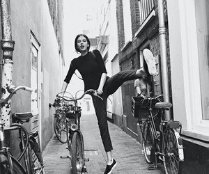 bike, black and white, and girl image