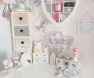 room decor, bunny cake, and floral candle image