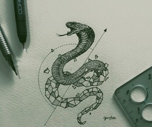 art, snake, and drawing image