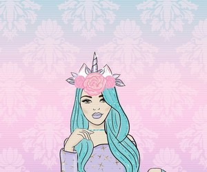 pink, background, and unicorn image