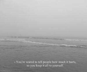 hurt, quotes, and black and white image