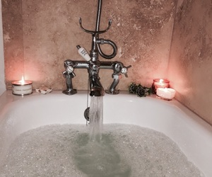 bath, candles, and cosy image