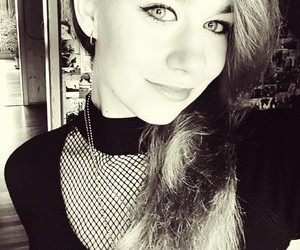 black and white, eyeliner, and girl image