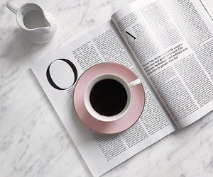 coffee, pink, and book image