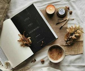 book, coffee, and candle image