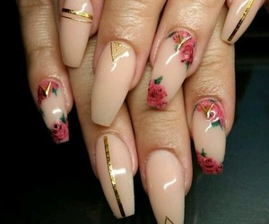 nails, flowers, and rose image