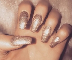 beautiful, acrylic nails, and gold image