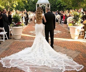 couple, wedding, and wedding dress image