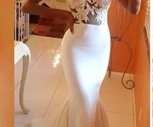 bridal, white, and dress image