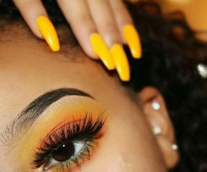 makeup, yellow, and eyeshadow image