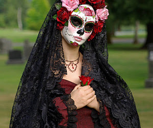 mexican, skull, and model image