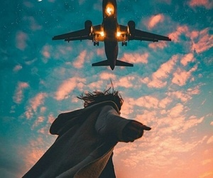 sky, travel, and airplane image