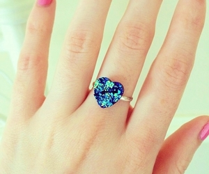 blue, heart, and ring image