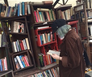 alternative, blue hair, and books image