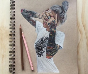 art, tattoo, and girl image