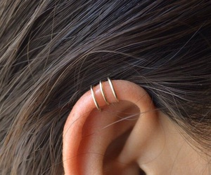 ear, girl, and piercing image