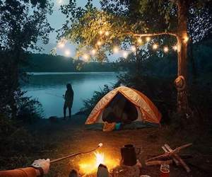 camping, forest, and lake image