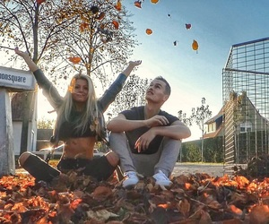 autumn, blonde, and blue sky image
