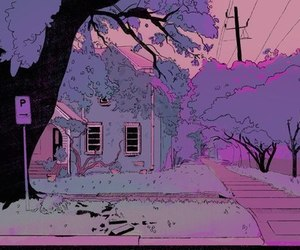 house, purple, and pink image