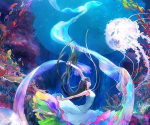 anime, girl, and under the water image