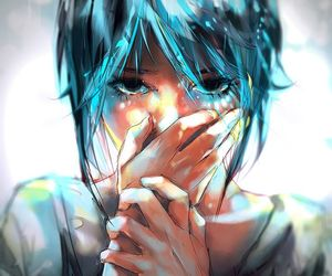 anime, art, and blue image