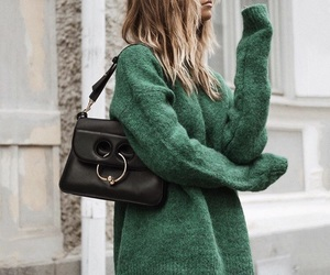 brunette, fashion, and green image