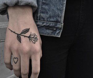 flower, heart, and tatoo image